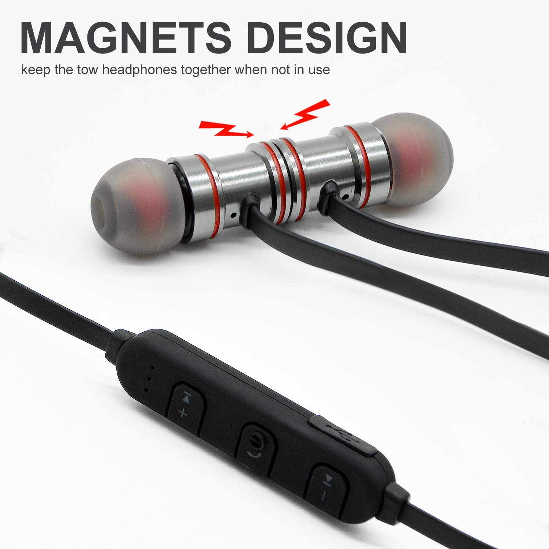 Sunvito Deporte V4.1 de Bluetooth Auricular, Ligero Nuca Sudor Auriculares Estéreo Inalámbricos con Mic para Llamadas de Manos Libres y Magnética Atracción para Android Negro