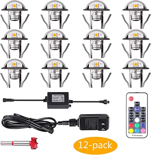 YZGWZLD Waterproof Deck Stair Lights 12 Pack 1.38 Dimmable Color Deck Light Low Voltage LED Step Light with Remote for Garden,Yard,Pathway