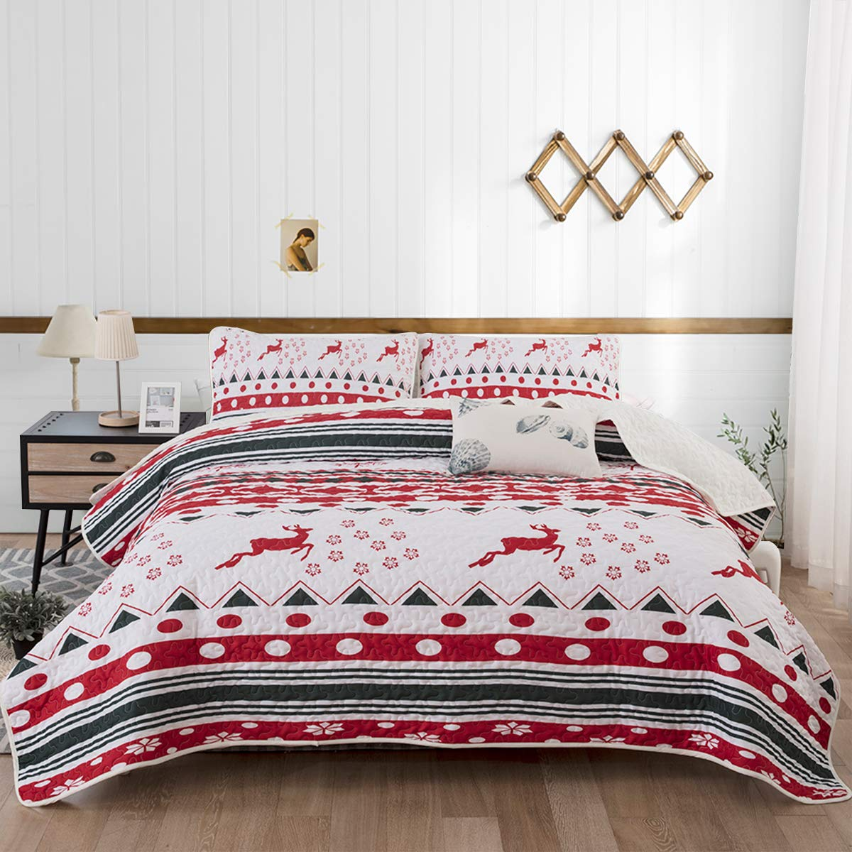 """Deer Reindeer Printed with 2 Pillowcases,Snowflake Coverlet Bed Cover Queen Size 90"""" X 90"""""""
