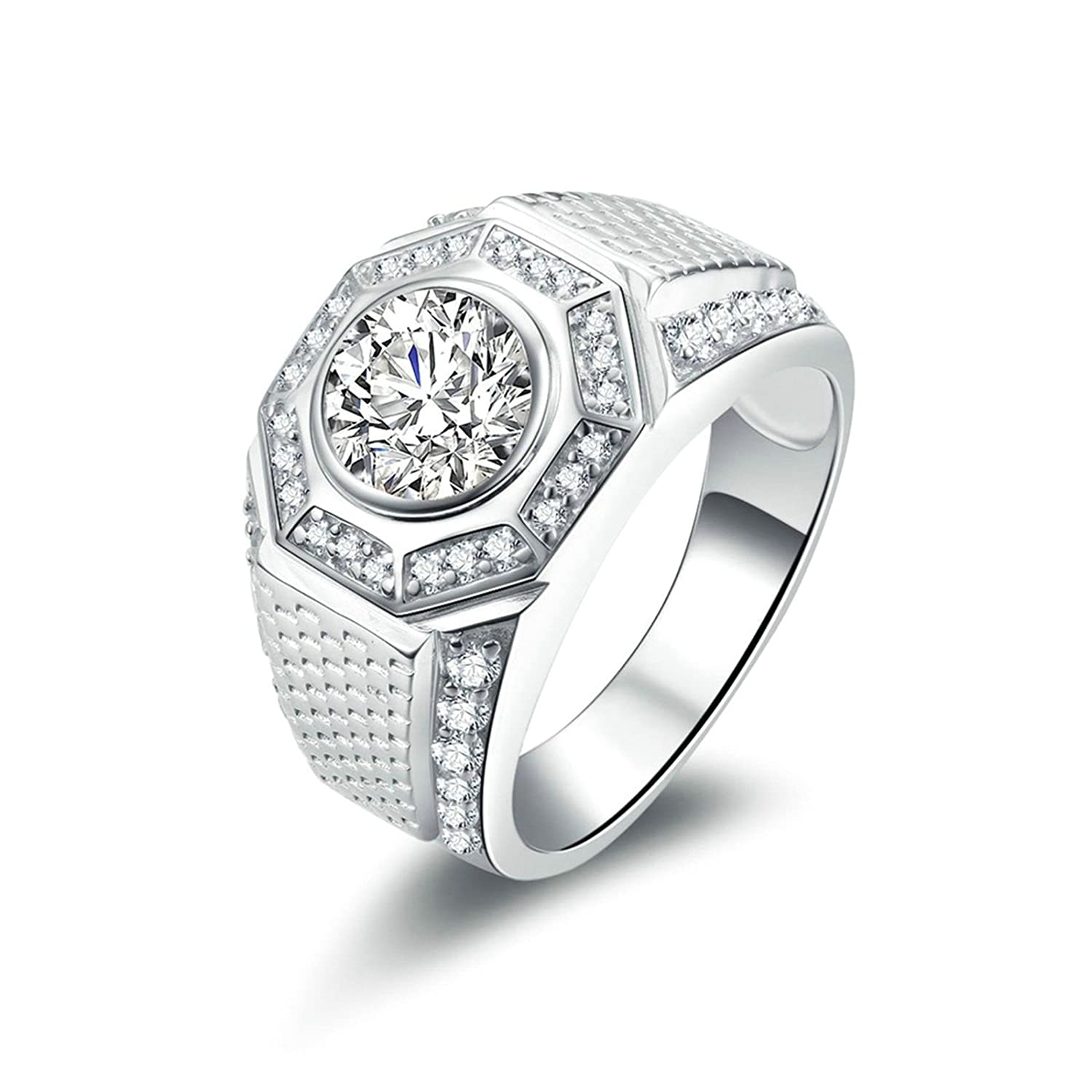 Bishilin Rings for Mens Wedding Iced Out Ring Round White Cubic Zirconia Size 11