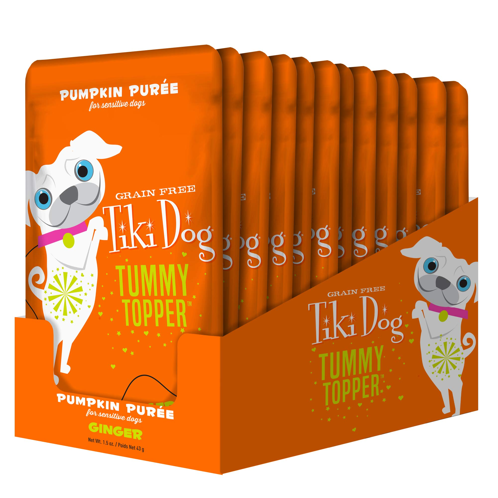 Tiki Dog Tummy Topper - Pumpkin & Ginger - 1.5 oz Pouch (12 Pack) by Tiki Pets