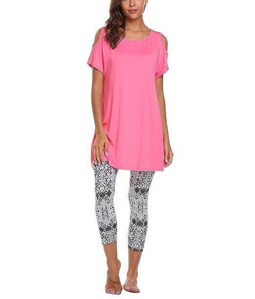 Avidlove Pijama Elástica Camison Legging 2 Piezas sin Hombro Casa(Rosa XL)