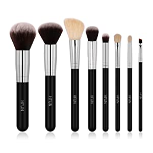 HFUN Professional Makeup Brushes Set 8 Pcs Synthetic Cosmetic Make up Brush Tool for Foundation Blush Concealer Powder Bronzer Highlight Eyeliner Eyebrow Blending with Brush Cleaner + Case(Black)