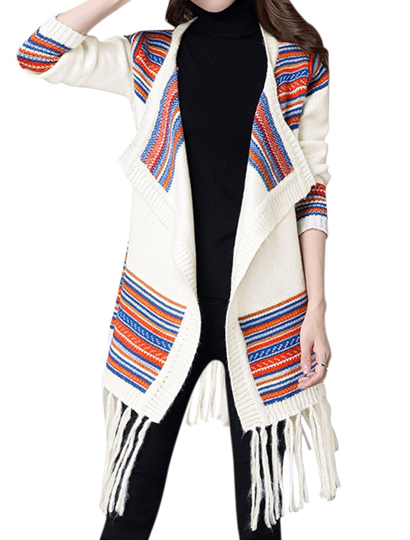 uxcell Women Turn Down Collar Stripes Tassels Hem Tunic Knit Cardigan