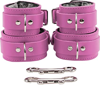 choose color costuming role play 6 pc leather wrist ankle cuffs purple