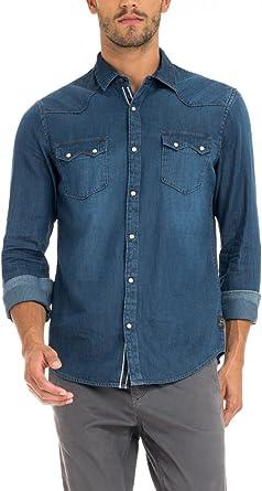 Salsa – Jeans Camisa, con Botones – Hombre Azul Azul: Amazon.es: Ropa y accesorios