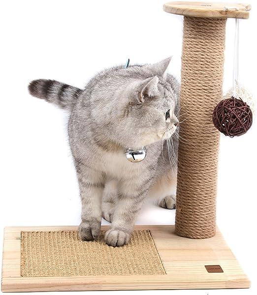 SWEET DEVIL Árbol Rascador para Gatos con Poste Rascadore y 2 Bolas Colgantes Juguete de Gato Sisal Natural,Medio,42 cm de Altura: Amazon.es: Productos para mascotas