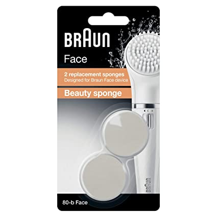 Braun Face 80-b - Pack of 2 Beauty Sponge Refills - Designed for Braun Face Cleansing Brush Shaving, Waxing & Beard Care at amazon