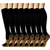 8 Pack Copper Knee High Compression Socks For Men & Women-Best For Running,Athletic,Medical,Pregnancy and Travel -15-20mmHg