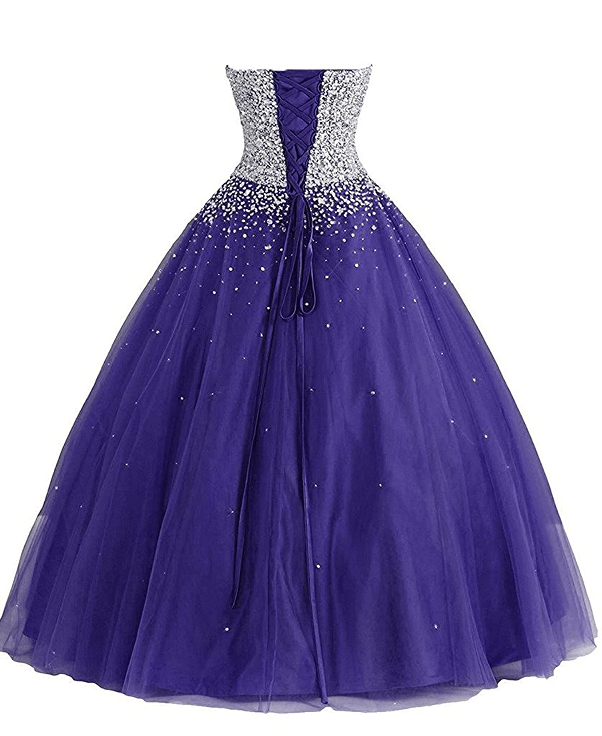 ZVOCY Women\'s Tulle Beaded Quinceanera Dress Ball Gown Prom Dress ...