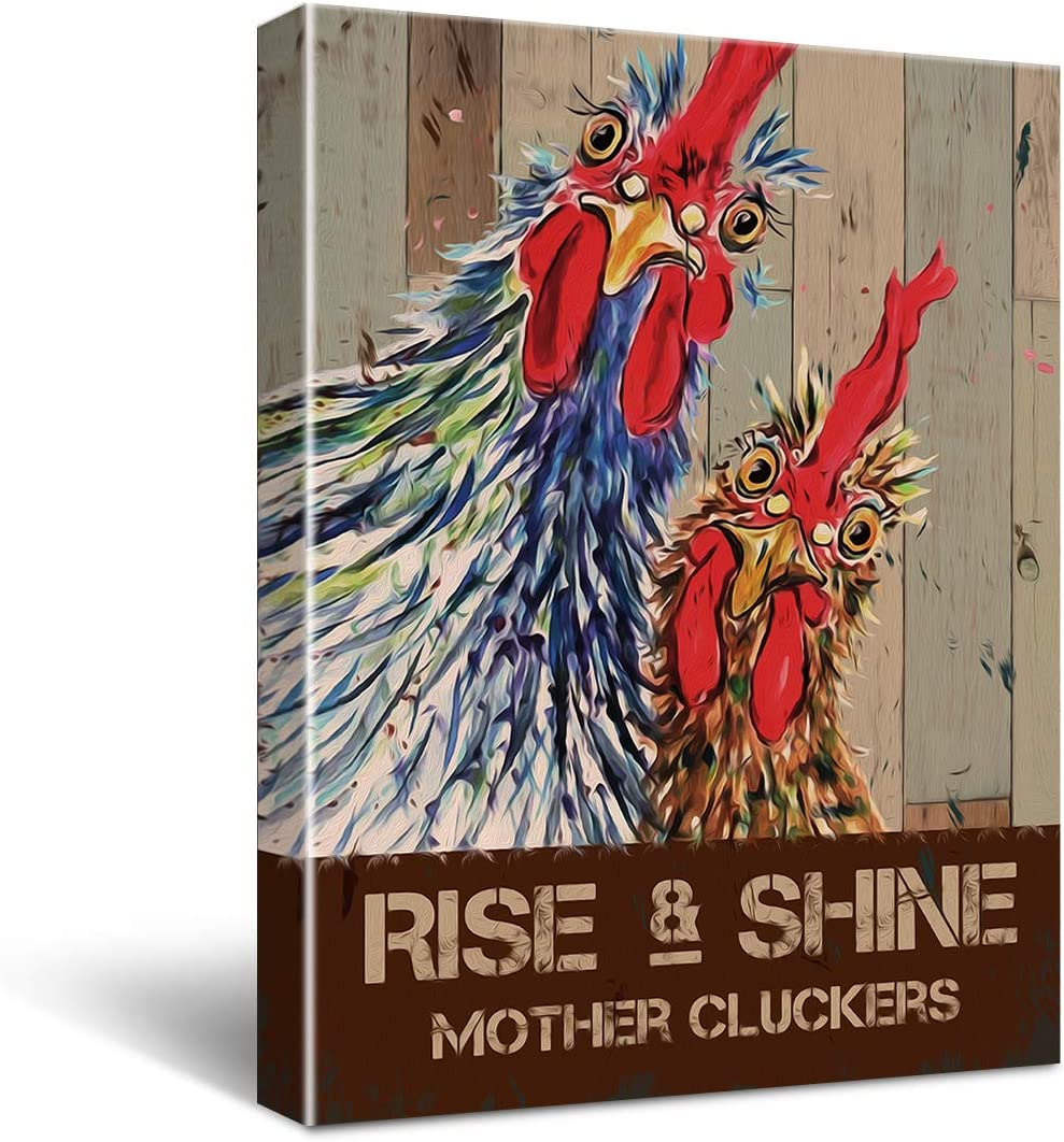 Funny Home Kitchen Decor Wall Art Canvas - Vintage Rise and Shine Mother Cluckers Rooster Chicken Poster Canvas Wall Art for Office/Home/Kitchen Decor - Retro Farmhouse Canvas Print Wall Art Painting Ready to Hang Home Decoration Gifts 11.5x15 Inch