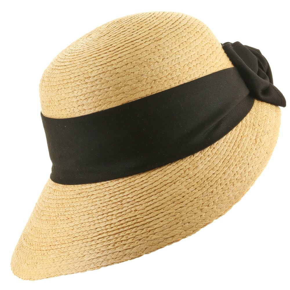 Ultrafino Golf Visor Scoop Panama Straw Hat Womens Black Hatband 6 7/8