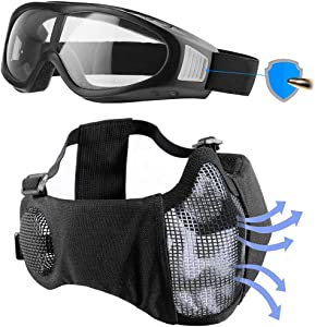 Airsoft mask, Mesh Half Face Skull Set with Goggles, Upgrade Ear & Eye Protection [Airsoft Rated]