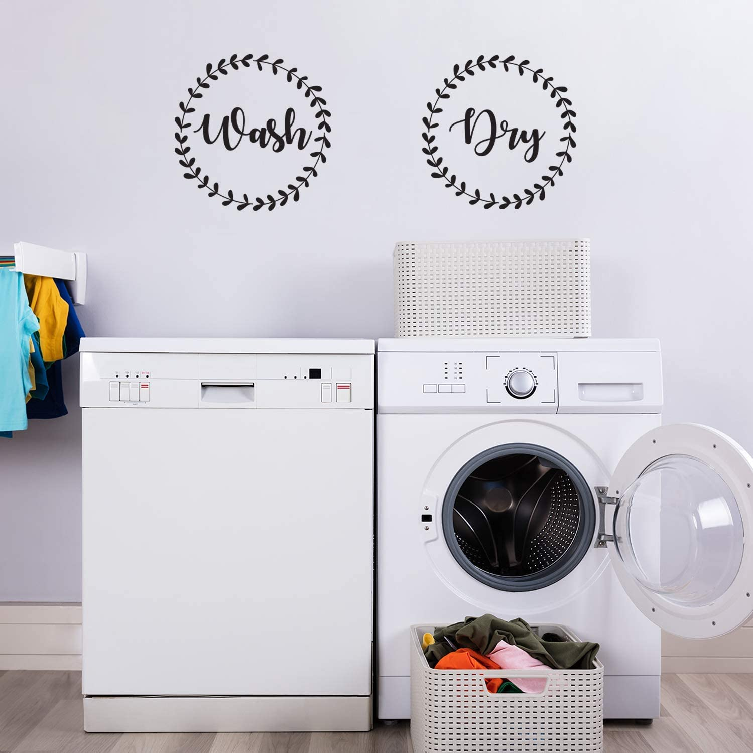 "Vinyl Wall Art Decal - Wash Dry - 15"" x 15"" Each - Modern Trendy Cute Washer Quote for Home Apartment Washing Machine Dryer Laundry Room Closet Chores Indoor Outdoor Decoration (Black)"