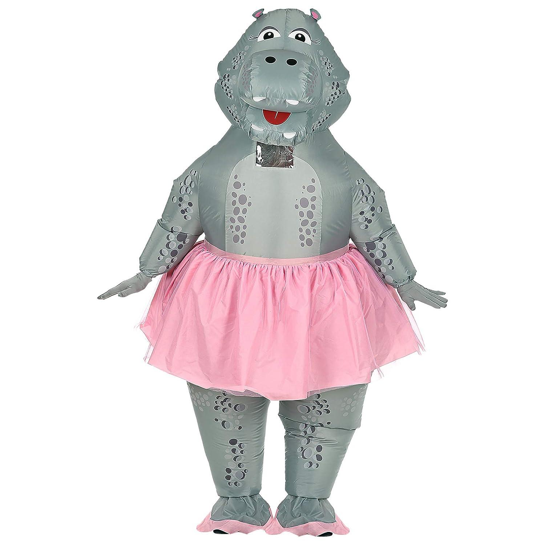 Widmann 75513 Aufblasbares Hippo Ballerina Kostüm, Unisex – Erwachsene, Grau