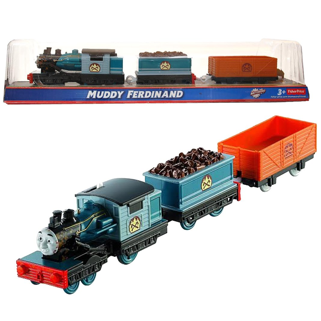 """Fisher Price Year 2013 Thomas and Friends Greatest Moments Series Trackmaster Motorized Railway Battery Powered Tank Engine 3 Pack Train Set - MUDDY FERDINAND with """"Wood"""" Loaded Car and Empty Freight Car"""