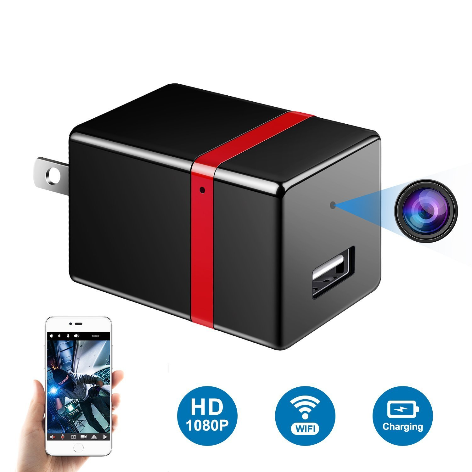Facamword Hidden Camera - 1080P WiFi Spy Camera - Wireless USB Adapter Cameras - HD Wall Charger Nanny Cam - Motion Detection Alarm - Video Recorder - Remote View - Home Security