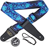 Kmise MI0287 Adjustable Soft Leather Thick Strap for Electric Acoustic Guitar Bass, Blue