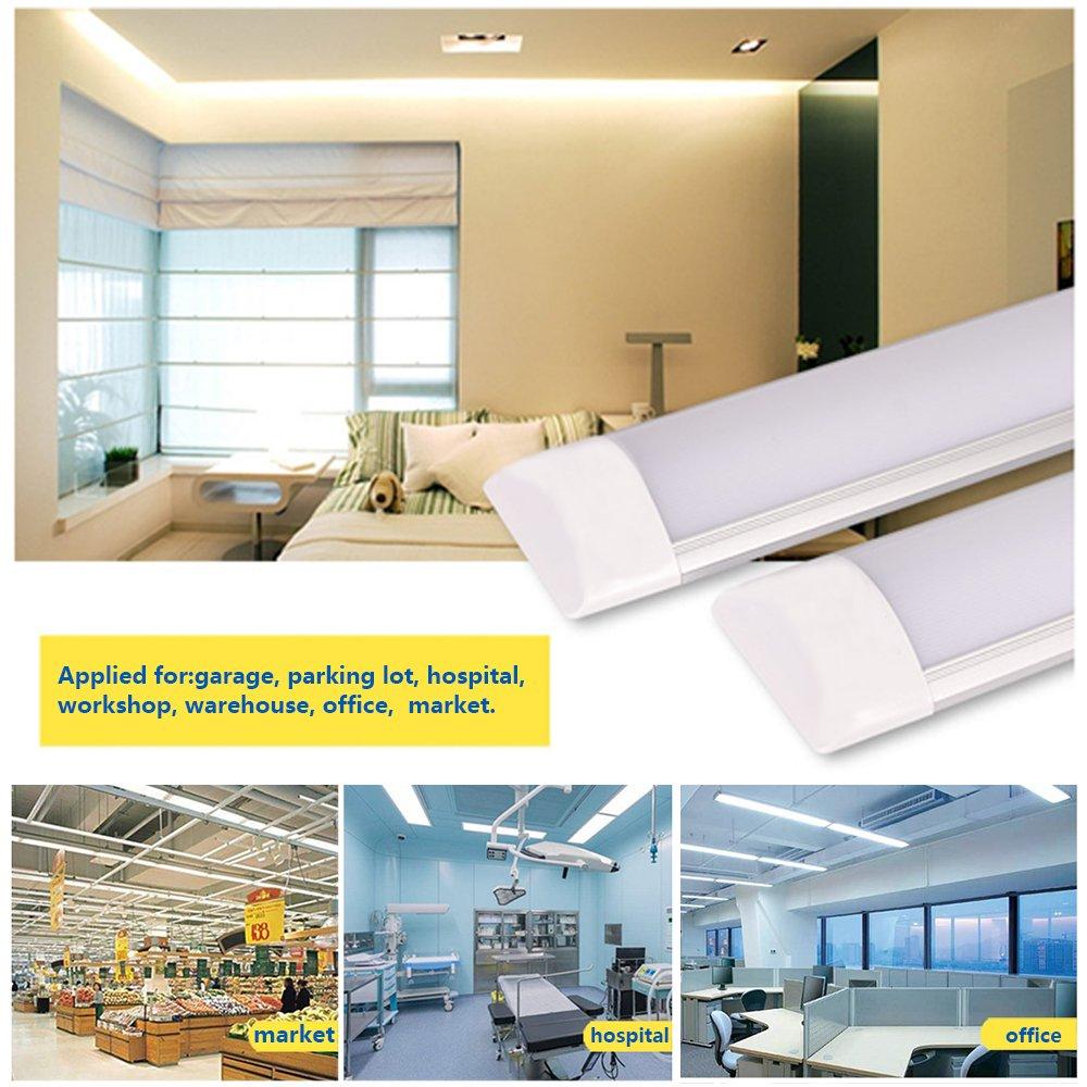 40W LED Tube 4ft//120cm,Appareil D/éclairage Int/égr/é de Tube de T10 LED avec des Supports Couverture Laiteuse Antipoussi/ère,3000LM le Garage et la pi/èce 6500K Lumi/ère du Jour