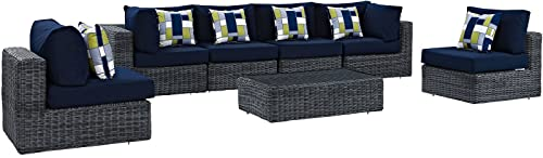 Modway Summon 7 Piece Outdoor Patio Sectional Set