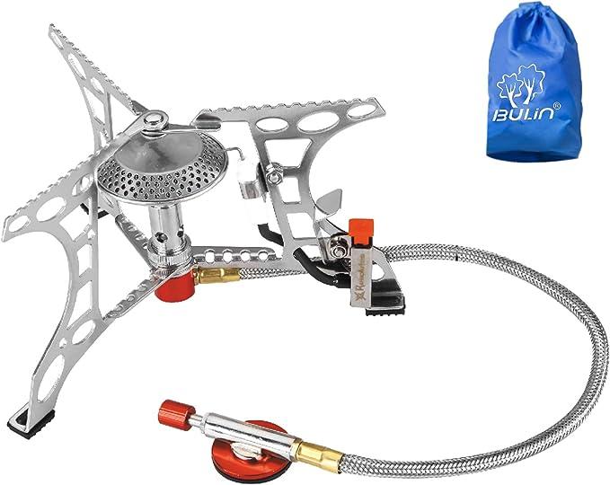 Bulin Hornillo de gas de 3200 W con encendido piezoeléctrico, plegable, para camping, trekking, senderismo, pícnic