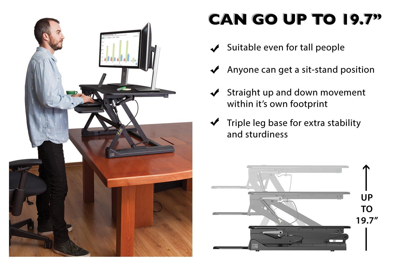 "G-PACK PRO -Desktop Standing Desk Converter - Ergonomic Desk Converter Riser Stand for Sit-To-Stand Work - Adjustable 35"" Standing Desk Monitor Riser - Fits Dual Monitor - Removable Keyboard Tray by G-Pack Pro (Image #6)"