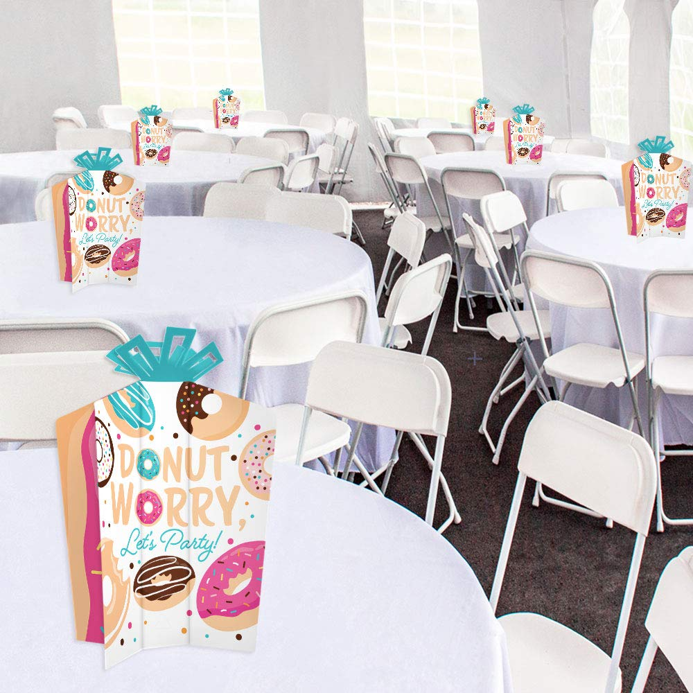 Let/'s Party Big Dot of Happiness Donut Worry 10 Count Table Decorations Doughnut Party Fold and Flare Centerpieces