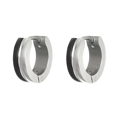 2866412e6 Two-tone Black & Silver Flat Huggie Hoop Ear Helix/Lobe/Cartilage Stud Men  & Women Earrings: Amazon.in: Jewellery