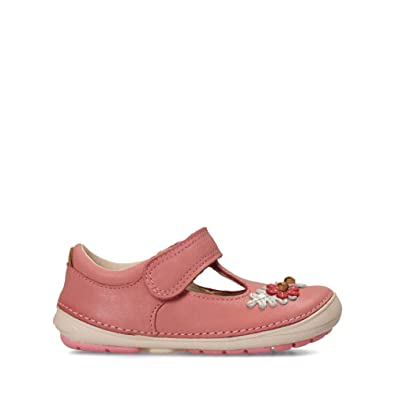 5cbf708bf80 Clarks Softly Blossom Toddler Leather Shoes in Baby Pink Narrow Fit Size 3