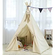Steegic Kids Cotton Canvas Teepee Children Playhouse 5 Pole Tipi for Kids Play Tent