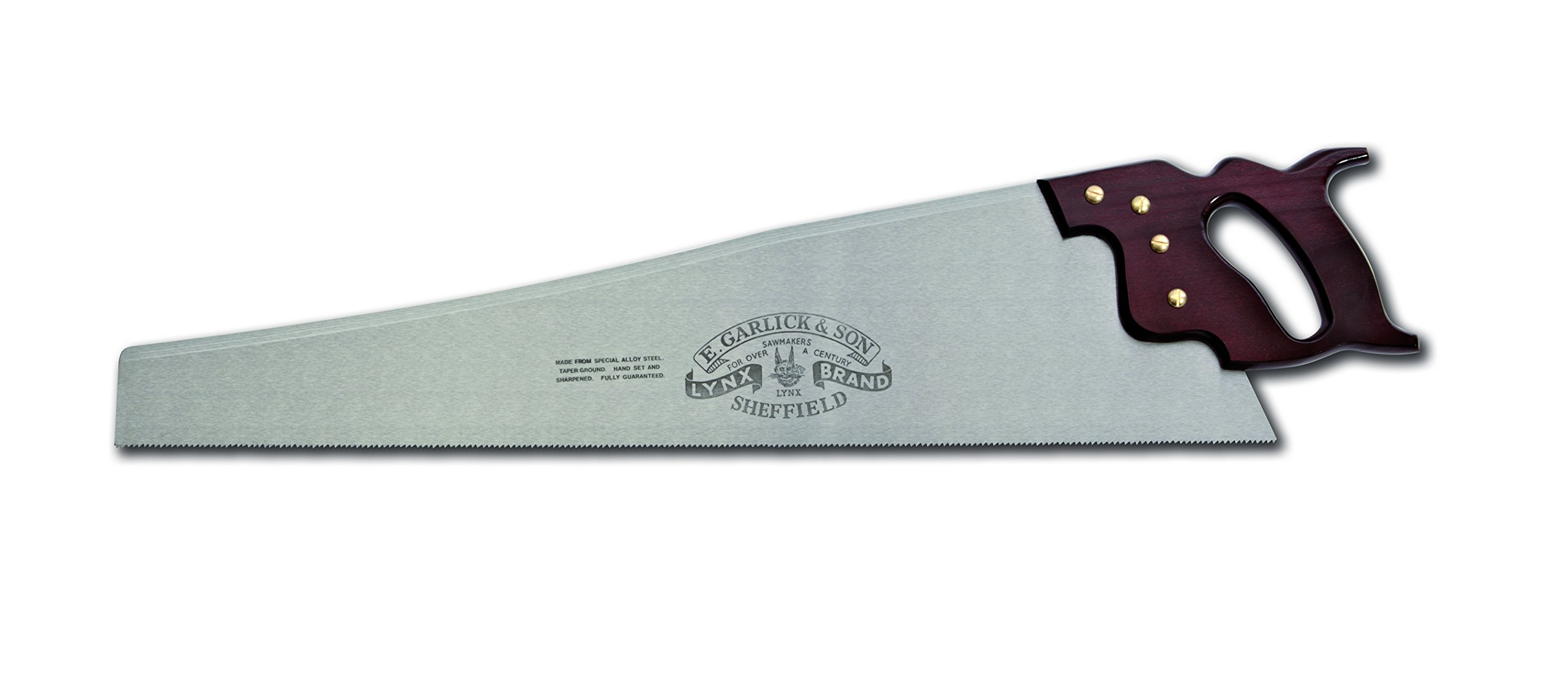 Lynx 26-Inch Hand Saw Filed for Rip Cutting (4.5 TPI) with Taper Ground Blade and Stained Beech Handle