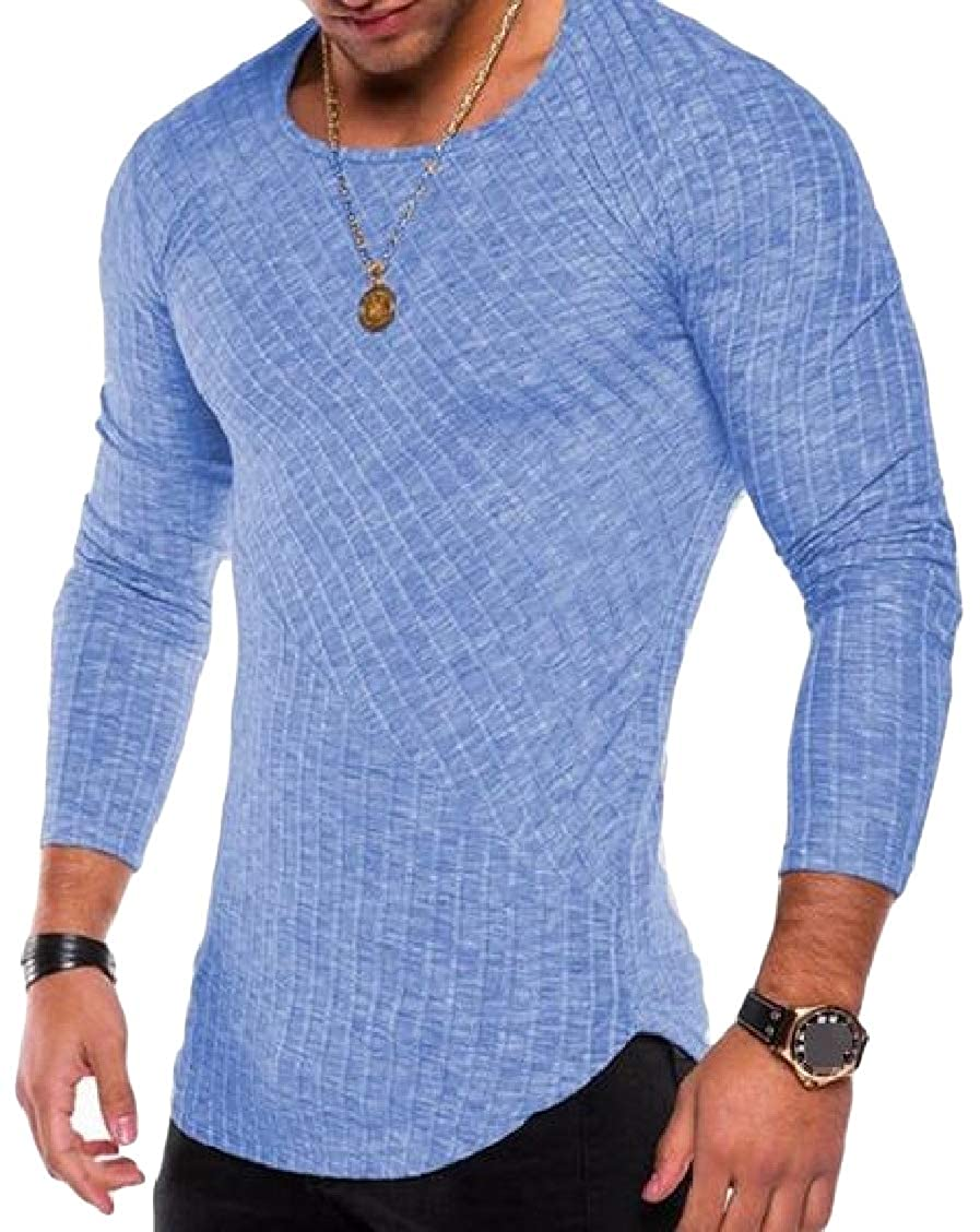 Sweatwater Mens Vogue Long Sleeve O-Neck Casual Curved Hem T-Shirt Top