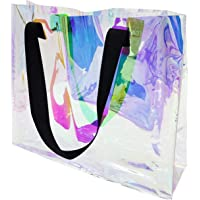 Fashion Iridescent Tote Bag, Clear Holographic Handbag for Work, Large Size and Sturdy Handle