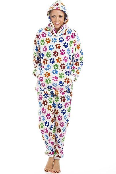 Camille - Conjunto de pijama con capucha para mujer - Forro polar - Huellas de perro