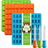 Newest Generation - 3 Pack Silicone Gummy Bear Molds 53 Cavities, 3 Bonus Droppers Perfect for Mints Chocolates Fudge Ice Cubes, BPA Free FDA Approved (Blue, Green, Orange) by Lizber