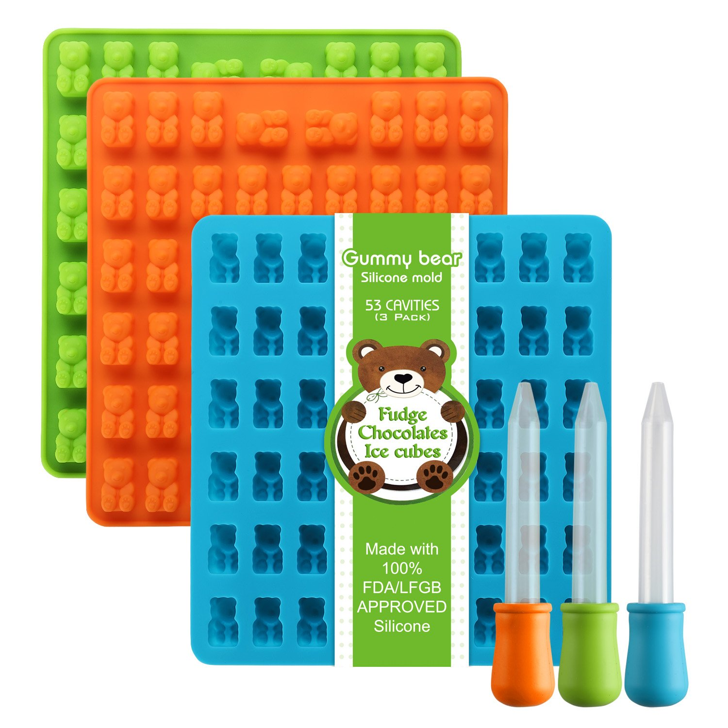 Newest Generation - 3 Pack Silicone Gummy Bear Molds 53 Cavities, 3 Bonus Droppers Perfect for Mints Chocolates Fudge Ice Cubes, BPA Free FDA Approved ( Blue, Green, Orange) by Lizber