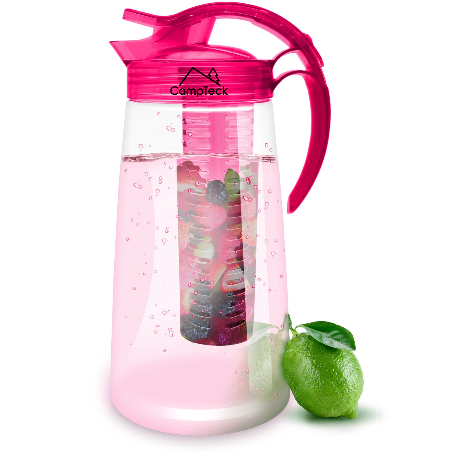 CampTeck 2 Litre 2000ml Fruit Infuser Water Jug Pitcher (BPA Free Tritan Plastic) with Leak Proof, Air Tight Lid + Lock & Handle - Pink HAZD080914
