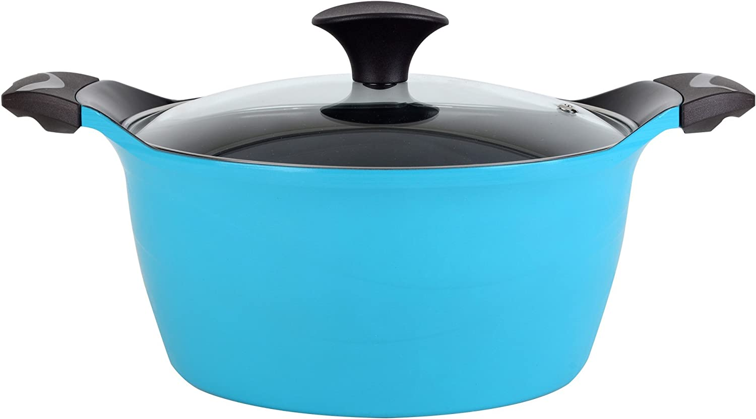 Cook N Home 4.2 Quart Nonstick Ceramic Coating Die Cast High Casserole Pan with Lid, Blue