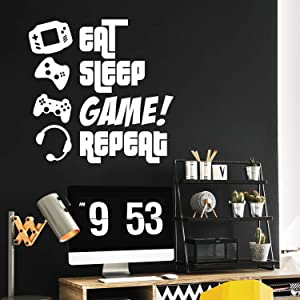 "EAT, Sleep, Game, Repeat - Gamers Wall Art Vinyl Decal - Video Gamers Cool Wall Decor- Decoration Vinyl Sticker - Teen Boys Room Decor - Boys Bedroom Wall Decoration (White, 47"" x 46"")"