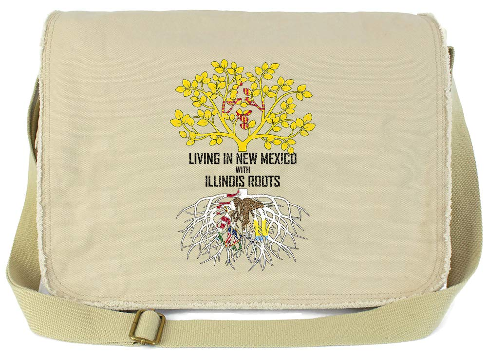 Tenacitee Living In New Mexico with Illinois Roots Grey Brushed Canvas Messenger Bag