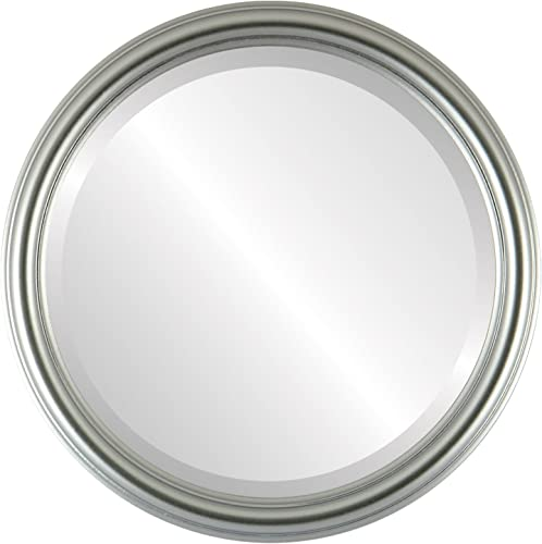 Round Beveled Wall Mirror for Home Decor – Saratoga Style – Silver Spray – 26×26 Outside Dimensions