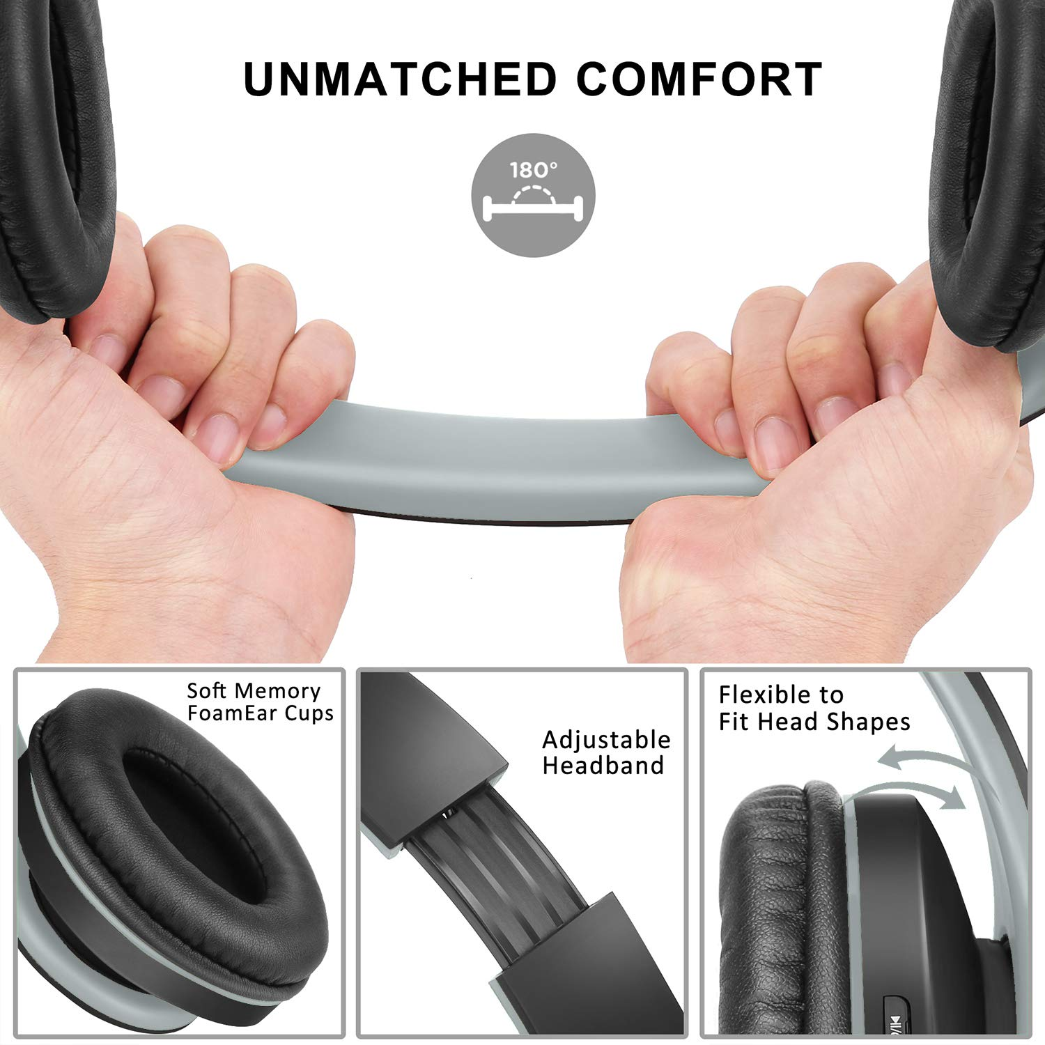 Bluetooth Headphones Over-Ear, Zihnic Foldable Wireless and Wired Stereo Headset Micro SD/TF, FM for Cell Phone,PC,Soft Earmuffs &Light Weight for Prolonged Waring(Black/Gray)