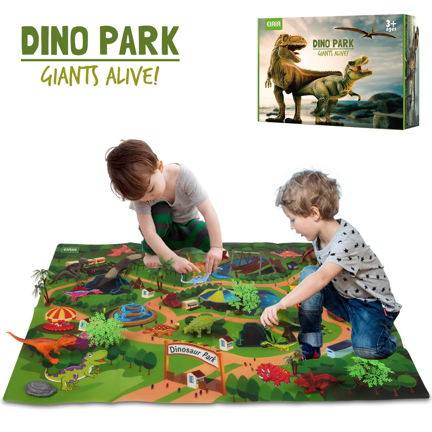 EIAIA Dinosaur Toys w/ Activity Play Mat Trees Rocks to Create A Dino World, Educational Realistic Dinosaur Figures Playset Including T-Rex, Triceratops, Velociraptor, Best Gifts for Kids Boys & Girls by EIAIA