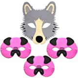 4 Foam Childrens Masks 3 Three Little Pigs & Wolf - Story Masks by Blue Frog Toys