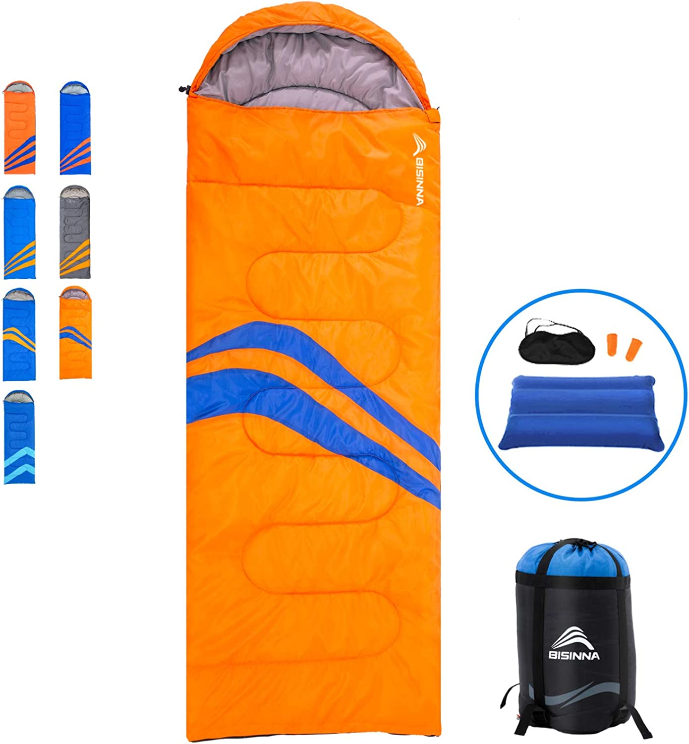 Adults BISINNA Camping Sleeping Bag for Indoor and Outdoor Use Hiking Waterproof Lightweight and Compact Sleeping Bags for Traveling Boys Backpacking Great for Kids,Girls Teens
