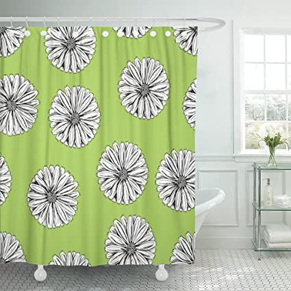 Emvency Fabric Shower Curtain Curtains With Hooks Alternative Herbal Flowers Of Calendula On Green Looks