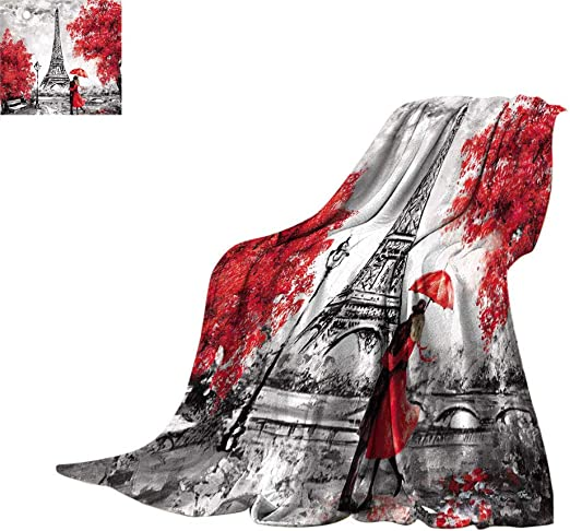 Amazon Com Jatansa Amazing Oil Painting Throw Blankets Paris European City Landscape France Wallpaper Eiffel Tower Super Soft Fluffy Flannel Blanket For Couch 60 X 36 Black White And Red Home Kitchen