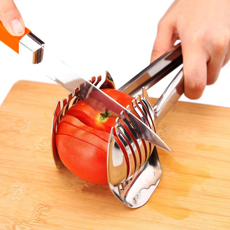Best Utensils Tomato Slicer Lemon Cutter 18/8 Stainless Steel Multipurpose Round Fruit Tongs Onion Holder Easy Slicing Kiwi Fruits & Vegetable Tools Kitchen Cutting Aid, Dishwasher Safe BestUtensils