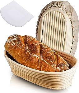 10 Inch Bread Banneton Proofing Basket, Baking Bowl Dough Gifts for Bakers Proving Baskets for Sourdough Lame Bread Slashing Scraper Tool Starter Jar Proofing Box
