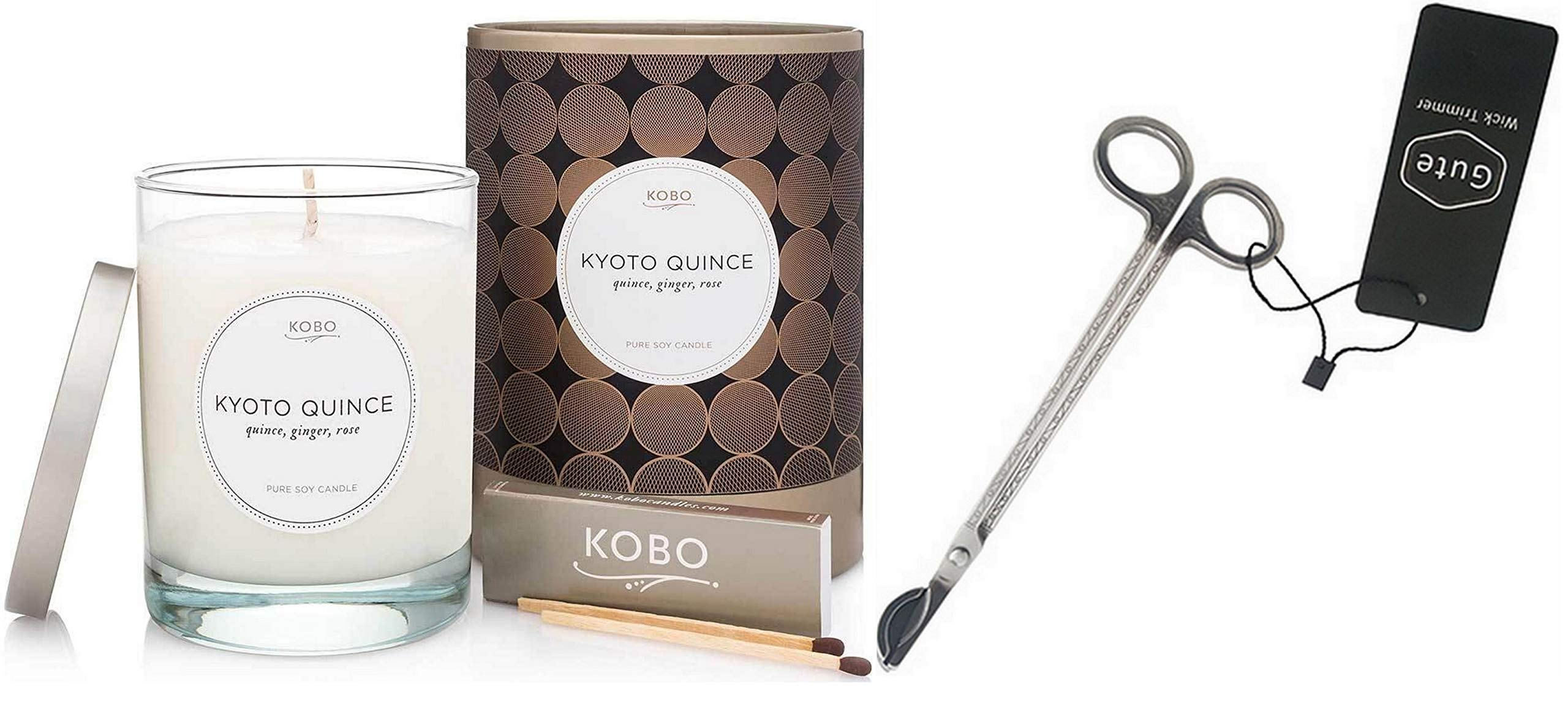 Kobo Candles Kyoto Quince and Gute Wick Cutter (2 Piece Bundle) by Gute